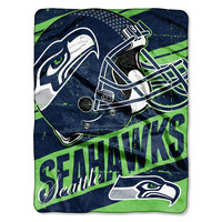 Seattle Seahawks NFL Micro Raschel Blanket (Deep Slant Series) (46in x 60in)