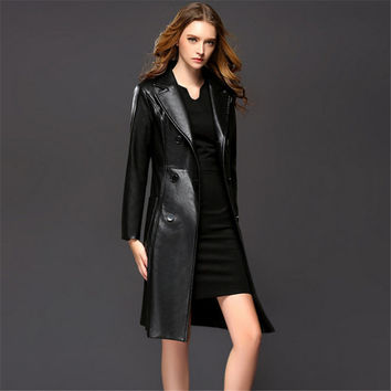 European And American Style Female Winter Fashion Double Breasted Leather Long Trench Coat Women PU Leather Trench Femme A1491