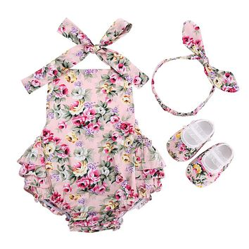Floral NewBorn Baby Infant Girl Clothes Set Summer Photography;Cotton Newborn Clothing Baby Girl Romper Headband Shoes 3pcs Set