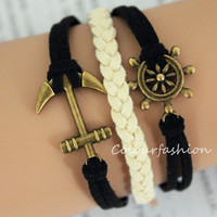 Graduation Gift, Fashion Charm Bracelet, Bronze anchor rudder Charm, Green Cords, Braid Leather, Bronze Jewelry, Personalized