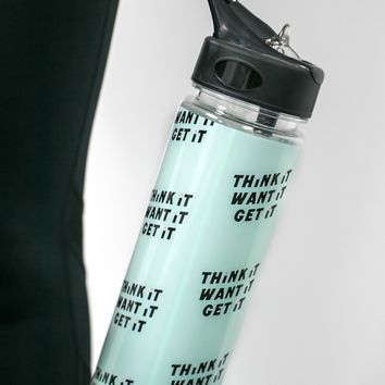 Work it Out Water Bottle, Think it Want it Get it