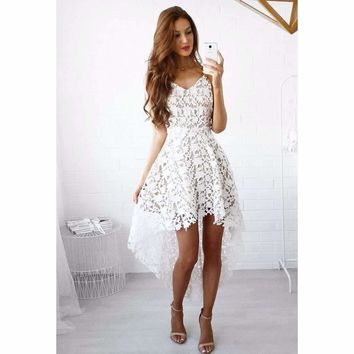 Hi-Low Hollow Out Lace Women Bohemian Mini Dress