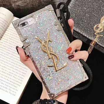YSL Trending Women Stylish Glitter Mobile Phone Cover Case For iphone 6 6s 6plus 6s-plus 7 7plus 8 8plus X XsMax XR Silvery