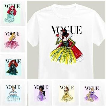2017 Brand New Women Tshirt Tattoo Vogue Princess Print Cotton Casual Shirt For Lady White Top Tee Hipster Big Size ZT203-15