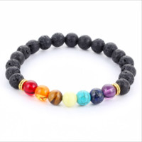 Natural stone agate lava stone 8mm energy volcanic stone colorful bracelet[10115052679]