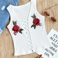New summer sexy Women Embroidered vest bandage T-shirt -0626