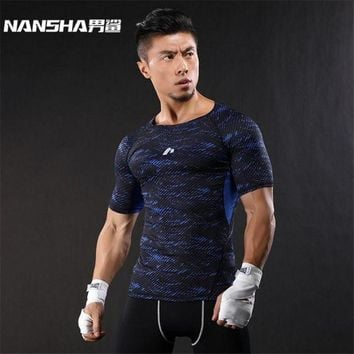 CREYLD1 NANSHA Brand-Clothing Gyms Compression T-Shirt Workout Crossfit T Shirt Fitness Slim Tights Casual Shirts Quick Dry Breathable