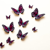 3D wall butterflies: light pink & fuchsia gradient butterfly wall art for nursery, dorm, whimsical home decor