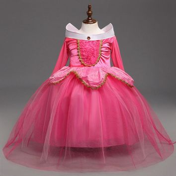 New Sleeping Beauty Aurora Princess Girl Dress Kids Cosplay Dress Up Halloween Costumes For Kids Girls Tulle Party Dress