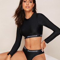 Long Sleeve Letter Tape Trim 2 Piece Swimsuit