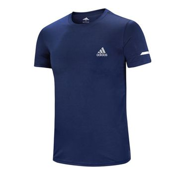 ADIDAS Summer New Casual Sports Round Neck Half Sleeve T-Shirt Blue