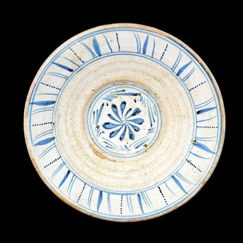 1840s English Sponge Cut Decorated Earthenware Bowl Pale Blue and White
