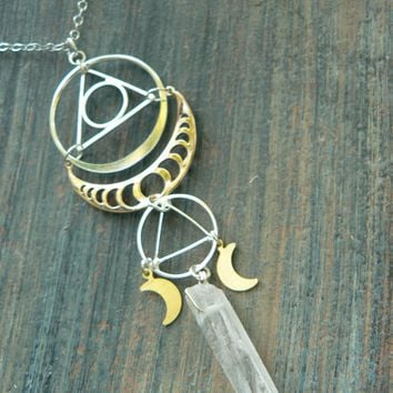 zen necklace,moon goddess necklace,sacred geometry necklace,moon phase necklace