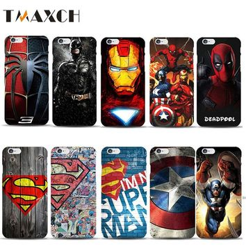 Superman Collection Deadpool Spiderman Phone Case for capinhas iphone X 8 7 6s Plus  Ironman Batman Marvel Covers Accessories