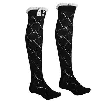 1 Pair Cotton Women Knit Over Knee Stocking High Socks Cotton women's thigh high tight stockings with garter girls' sports socks