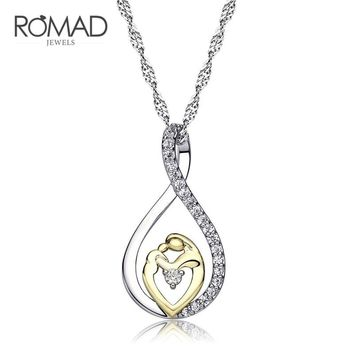"Romad Mother and Child Love ""Mom"" Pendant Necklace for Women Fashion AAA Zircon Charm Necklace of Mother's day Gift For Mom"