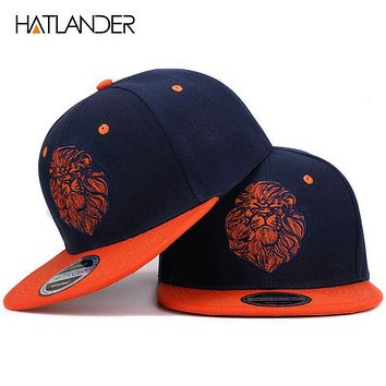 High quality lion face embroidery snapback cap cool king hip hop hat for boys and girls
