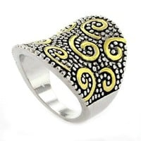 Superb 2-tone Designer-Inspired Shield Ring/Wide Band