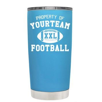 TREK Custom Property of Team Football on Baby Blue 20 oz Tumbler Cup