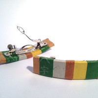 Hanji Mini French Barrettes Hair Pin Striped Green Yellow Brown Stainless Steel Barrette (Set of 2)