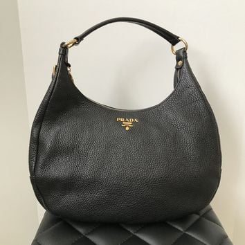 Prada Black Pebbled Leather Shoulder Bag
