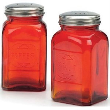 Retro Salt & Pepper Shakers – Red, 8 oz. (.24L)