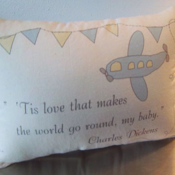 Blue nursery pillow baby shower gift Charles Dickens quote throw pillow cotton muslin adventure baby cushion airplane transportation decor