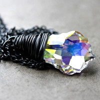 AB Crystal Necklace, Swarovski Aurora Borealis Oxidized Sterling Silver Wire Wrapped- Northern Lights