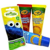 Crayola Bathtub Fingerpaint Soaps and Sesame Street Bath Fizzers Bundle with Four Items: 3 Tubes of Soap Paints and 1 Packet of Fizzers