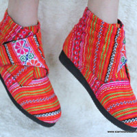 Retro Vegan Ankle Boot, Tangerine Orange Hmong  Embroidery and Batik,  Bootie,  Shoe