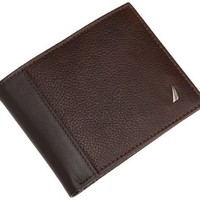 Nautica Men's Milled Leather Passcase Wallet, Brown, One Size