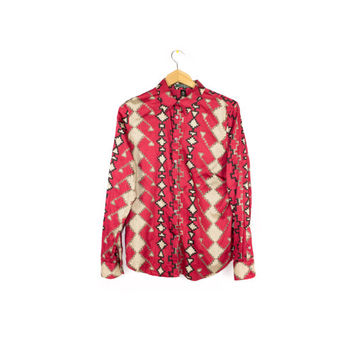 Ralph Lauren womens silky southwestern tribal print shirt - red + black - long sleeve button down - large