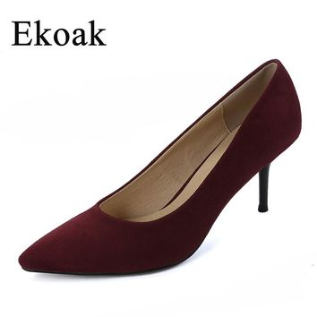 Ekoak New 2017 women pointed toe flock high heels Sexy Genuine Leather OL women pumps Fashion Handmade Sheepskin shoes woman