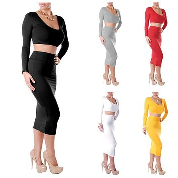Two Pieces Long Sleeve Bodycon Crop Top Pencil Skirt Set