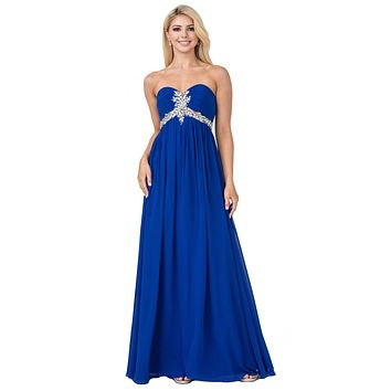 Pleated Strapless Studded Long Royal Blue A Line Prom Gown Empire Waist