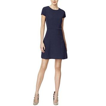 Maison Jules Womens, Pleated Fit & Flare Dress, Blue Notte, Size Medium