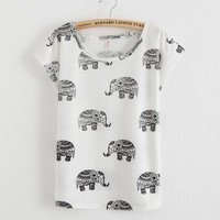 [Mikeal] New Summer tops women t shirt full printed tees letters elephant Swallows batwing t-shirt number 69 casual tshirt