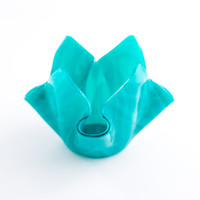 Glass Votive Candle Holder, Teal Home Decor, Small Flower Vase, Fused Glass, Modern Home Accessories, Tea Light Holder, Unique Gifts