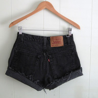 Vintage 550 Black Levi's High Waisted Cut Off Denim Shorts Jean Cuffed USA 27""