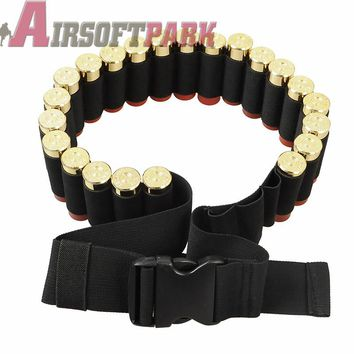Tactical 25 Shotgun Buttstock Shell Bandolier Belt 12 Gauge Ammo Holder Military Shotgun Cartridge Belt Outdoor Airsoft Hunting