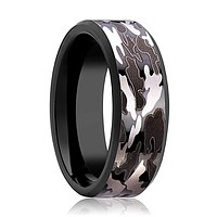 Camo Wedding Band - Black Tungsten - Black and Gray Camo  - Tungsten Wedding Band - Beveled - Polished Finish - 8mm - Tungsten Wedding Ring