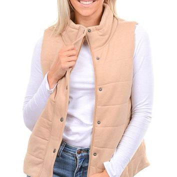 Blush Taupe Terry Puffer Vest