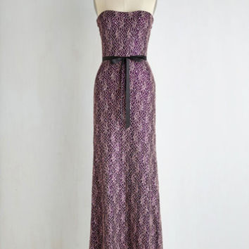 Long Sleeveless A-line Dash of Flashy Dress in Amethyst