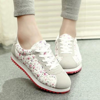 Spring Autumn Fashion Casual  Sneakers Sweet Floral Print Canvas Shoes Low Soft Student Sport Shoes