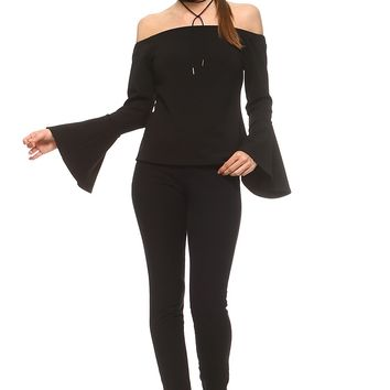 Women's Off the Shoulder Top with Bell Sleeves
