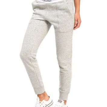 DCCKN7G Calvin Klein Women Fashion Print Stretch Trousers Pants Sweatpants