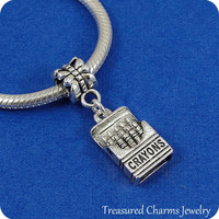 Box of Crayons European Dangle Bead Charm - Silver Box of Crayons Charm for European Bracelet