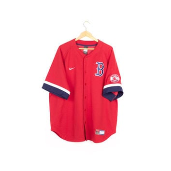 NIKE red sox jersey / red / button front / short sleeve / MLB / boston / sewn embroidered patch / baseball / adult / mens XL