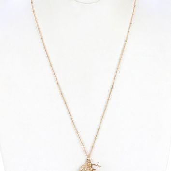 Clear Metal Seashell Pendant Long Chain Necklace
