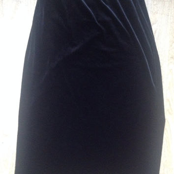 90's Anthropologie Crushed Velvet Midi or Maxi Skirt, women's medium or small, goth, grunge, witchy woman, black